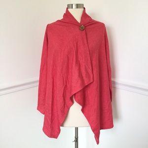 bobeau Sweaters - Bobeau One Button Fleece Wrap Cardigan